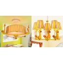 Drum/Tapered Semi Flush Mount Children Bedroom 3/5 Lights Chandelier with Yellow Stripe Fabric Shade