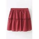 Drawstring Waist Plaid Printed Mini A-Line Skirt