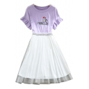 PRINCESS Letter Character Embroidered Round Neck Short Sleeve Mesh Patchwork Midi A-Line Dress
