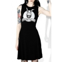SPOOKY TUNES Letter Skull Printed Round Neck Sleeveless Mini A-Line Dress
