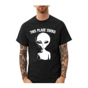 THIS PLACE SUCKS Letter Alien Printed Round Neck Short Sleeve Tee