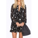 Star Printed V Neck Long Sleeve Hollow Out Back Mini A-Line Dress