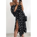 Polka Dot Printed Off The Shoulder Half Sleeve Split Side Maxi A-Line Dress