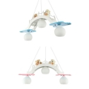 Bear Triple Lights Hanging Lamp White Glass Suspended Light for Amusement Park Girls Room