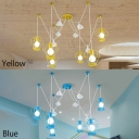 3/6 Lights Caged Lighting Fixture with Hot Air Balloon Amusement Park Metal Swag Pendant Light in Blue/Yellow