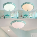 Seaside Resin Bowl Flushmount Kids Room 1 Light Ceiling Light Fixture in Sky Blue