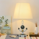 Fabric Anchor Shape Table Light Mediterranean Kids Bedroom Single Light Standing Table Lamp in Blue