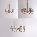 Fabric Shaded Chandelier with Star Design American Retro 3/6/8 Lights Suspended Lamp in Brass