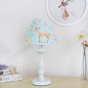 Acrylic Deer Pattern Reading Light Children Bedroom Single Head Table Lamp in White Finish