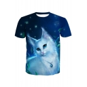 3D Fancy Cat Printed Round Neck Short Sleeve Tee