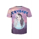 CRY BABY Letter Girl Printed Round Neck Short Sleeve Tee