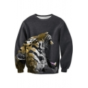Geometric Mirror Tiger Printed Round Neck Long Sleeve Sweatshirt