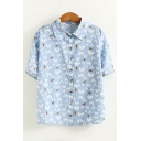 Allover Cat Carrot Pattern Short Sleeve Button Down Shirt