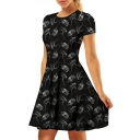 Digital Skull Printed Round Neck Short Sleeve Mini A-Line Dress