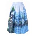 Digital Landscape Printed Elastic Waist Midi A-Line Skirt