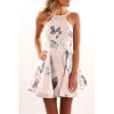 Round Neck Sleeveless Backless Leaf Printed Mini A-Line Dress