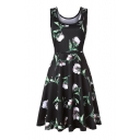 Leisure Floral Printed Round Neck Sleeveless Midi A-Line Dress