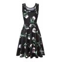 Leisure Floral Printed Round Neck Sleeveless Midi A-Line Dress