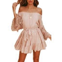 Lace Insert Tassel Embellished Long Sleeve Off The Shoulder Ruffle Hem Mini A-Line Dress
