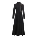 Stand Up Collar Long Sleeve Zipper Fly Plain Tunic Woolen Coat