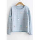 Cute Cartoon Cloud Plaid Printed Round Neck Long Sleeve Tassel Embellished Sweatshirt