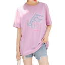 Letter Dinosaur Embroidered Round Neck Short Sleeve Leisure Tee