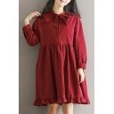 Plain Bow Tie Round Neck Long Sleeve Ruffle Detail Midi Smock Dress