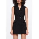 Office Lady Style Lapel Collar Sleeveless Single Button Plain Romper