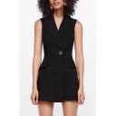 Office Lady Style Lapel Collar Sleeveless Single Button Plain Romper