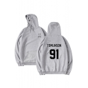 91 Letter Smile Face Printed Loose Leisure Hoodie