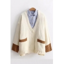 Color Block V Neck Button Down Long Sleeve Loose Cardigan