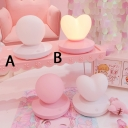 Pink/White Loving Heart/Globe Girls Bedroom Night Light with Plastic Base Touch Control