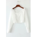 Retro Square Neck Long Sleeve Elastic Waist Button Front Crop Blouse