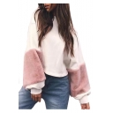 Color Block Fake Fur Patchwork Round Neck Long Sleeve Crop Sweatshirt