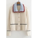 Vintage Contrast Lapel Collar Long Sleeve Button Down Cardigan