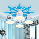 Nautical Plastic Ceiling Light with Ship Wheel Blue 4 Lights Flush Mount Fixture for Boys