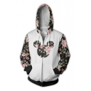 Contrast Floral Printed Long Sleeve Zip Up Hoodie