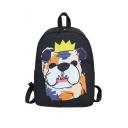 Cartoon Crown Dog Printed Leisure Backpack School Bag