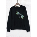 Dragonfly Embroidered Round Neck Long Sleeve Sweatshirt