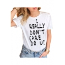 I REALLY Letter Printed Round Neck Short Sleeve Tee