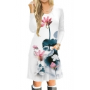 Lotus Printed Round Neck Long Sleeve Comfort Slim Midi A-Line Dress