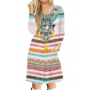 Tribal Striped Printed Round Neck Long Sleeve Slim Midi A-Line Dress