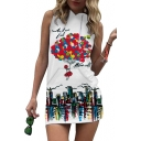 Hot Air Balloon Printed Sleeveless Mini Hooded Dress