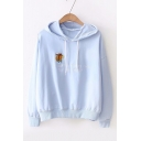 Squirrel Letter Embroidered Long Sleeve Chic Hoodie