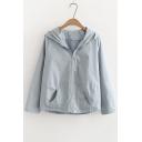 Chic Plain Long Sleeve Zip Up Hooded Coat