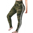 Contrast Striped Side Camouflage Printed High Waist Skinny Leggings