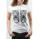 Four Cats Printed Round Neck Short Sleeve Slim Tee