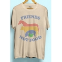 FRIENDS Letter Animal Printed Round Neck Short Sleeve Tee