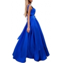 V Neck Sleeveless Bow Tie Embellished Open Back Sleeveless Plain Maxi A-Line Party Dress