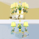 3/5 Lights Giraffe Design Hanging Lamp Nursing Room Fabric Shade Suspended Lamp in Yellow